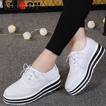 Keloch New Women Platform Brogue Flats Shoes Summer Patent Leather Lace Up Moccasins F
