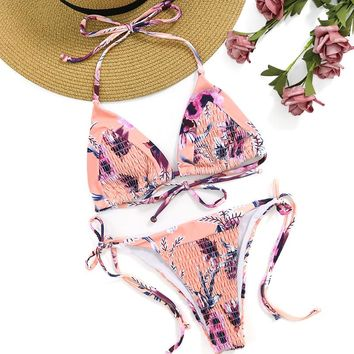 Patchwork Tie Dye Floral Pleat Ripple Bikini Halter Swim Bathing Suit Swimsuit Swimwear Women Bikini