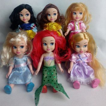 New Animators Sharon Dolls Princess doll with box Snow White Ariel Rapunzel Cinderella Aurora Belle dolls for girls Baby Toys