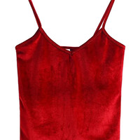 Red V-neck Velvet Cropped Cami Top