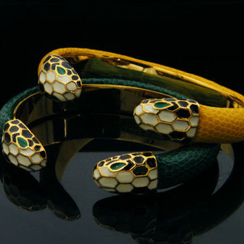 free shipping fashion stainless steel leather dounle snake bracelet