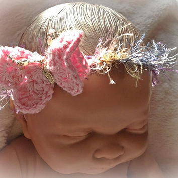Baby/girls headband halo hair accessory photo prop, party, special occasion, hand crocheted butterfly