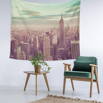 Vintage New York Sky Line View Wall Art College Apartment Unique Dorm Room Decor Trendy Wall Tapestry