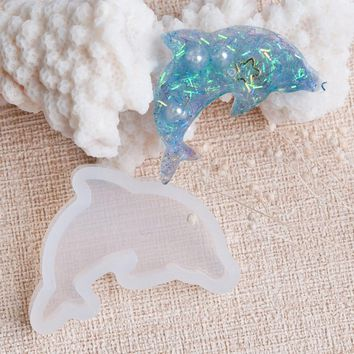 "Doreen Box Dolphin Animal Shape Silicone Resin Mold For Jewelry Making White 38mm(1 4/8"") x 27mm(1 1/8""), 1 Piece"
