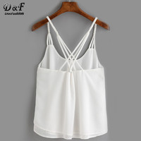 Ladies Tops Casual Style Summer Woman Shirts Plain White Spaghetti Strap Back Cross Loose Chiffon Top