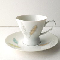 Rosenthal Demitasse Cup and Saucer Set with Colored Leaves Design