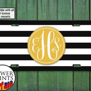 Black White Stripe Pattern Gold Custom Monogram Cute Tumblr Personalized For Front License Plate Car Tag One Size Fits All Vehicle Custom