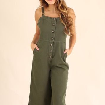 ON THE BOARDWALK JUMPSUIT - OLIVE