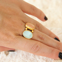 Aquamarine and Moon stone silver ring, 925 Sterling Silver, Natural stone ring, Gemstone ring, handmade jewelry