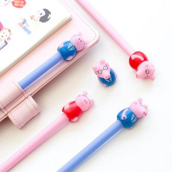 C06 2X Cute Kawaii Lovely Pig Gel Pen Writing Signing Pens School Office Supply Student Stationery Kids Gift 0.5mm