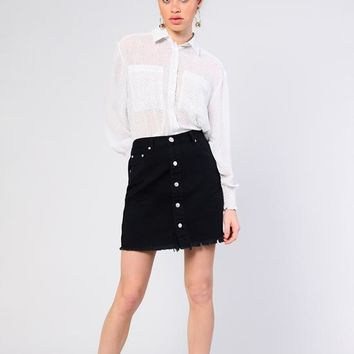 Glamorous - White/Tiny Black Polka Dot Long Sleeve Shirt