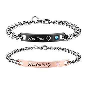 Paris Selection His and Hers Stainless Steel Matching Bracelet for Couple in Gift Box 2 Pcs His Only Her One