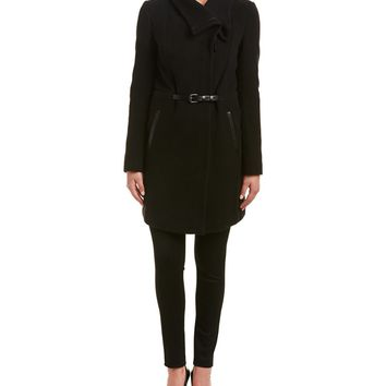 Mackage Mackage Valencia Leather-Trim Wool & Cashmere-Blend Coat | Bluefly.Com
