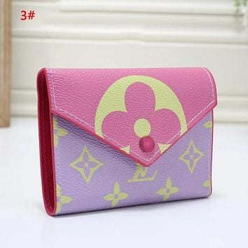 Louis Vuitton LV Women  Fashion New Monogram Print Wallet Purse 3#