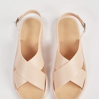 Crossed Jelly Slingback Sandals - Nude - 7