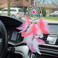 Small Dream Catcher For Car, Gift Car Accessory For Women, Car Charm Decor, Pink  Dreamcatcher, Gift For Her