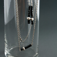 Black and Silver Earrings + Necklace Jewelry Set - Contemporary Fashion - Modern - Simple