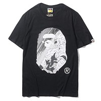 Bape Aape Summer Fashion New Comic Print Women Men Top T-Shirt Black