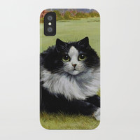 Black & White Kitty - Louis Wain Cats iPhone Case by digitaleffects