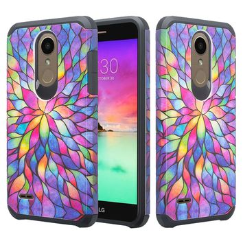 LG K10 (2018) Case, K30,  K10+, K10 Plus, K10α, X4 Plus, X4+, X410, MS245, Slim Hybrid Dual Layer [Shock Resistant] Cover - Rainbow Flower