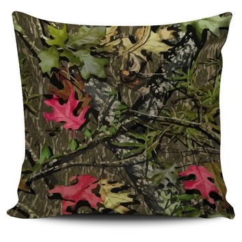 Green and Pink Camo Throw Pillow