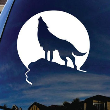 "Howling Wolf Moon Car Window Vinyl Decal Sticker 5"" Wide"