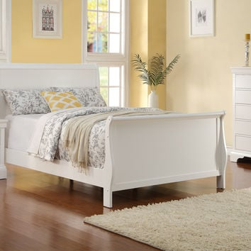 Poundex Twin Sleigh Bed White Finish