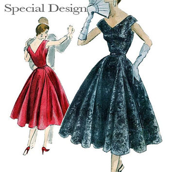 1950s Evening Cocktail Gown Dress Wide V-Front Back Neckline & Vogue Sewing Label! Vintage Vogue 4544 Special Design UNCUT Pattern Bust 34