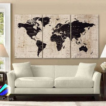 "LARGE 30""x60"" 3 Panels Art Canvas Texture Print Map World  Cities Push Pin Travel Wall Brown beige decor Home interior"