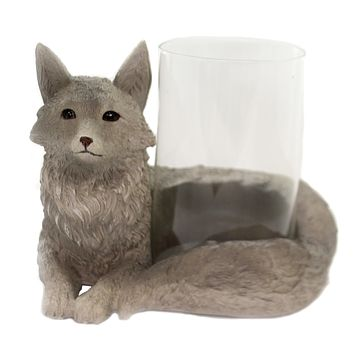 Animal FOX CANDLE HOLDER Polyresin Long Bushy Tail 76747