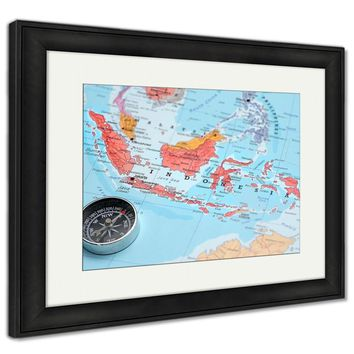 Framed Print, Travel Destination Indonesia Map With Compass