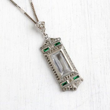 Antique Art Deco Faux Diamond & Emerald Lavalier Necklace- 1920s Clear and Green Glass Pendant on Long Chain Jewelry