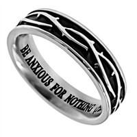 "Crown of Thorns ""Anxious For Nothing"" Christian Women's Ring, Philippians 4:6,7"