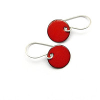 Small Dangle Earrings, Strawberry Red Enamel, Copper and Sterling Silver - Candies