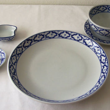 Ceramic 6-Piece DINNER SET ~ Plate Bowl Saucer Spoon Sauce Dishes ~ Asian ~ Hand Painted Blue & White ~ New ~ U.S.A. Seller ~ Ships from USA
