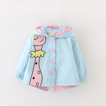 (3 colors) New spring Kids girls coats clothing 2016 Baby girls fashion cartoon dots hooded trench coats 6-24 months !