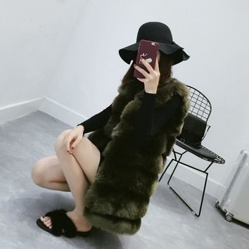 Fenghua Faux Fur Coat Winter Women 2017 New Fashion Casual Slim Sleeveless Faux Fox Fur Vest Winter Coat Women casaco feminino