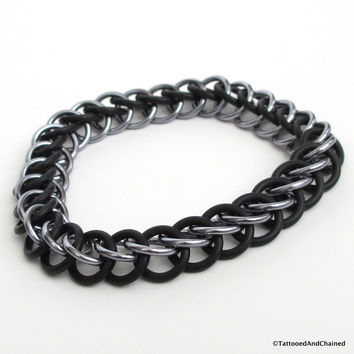 Half Persian 3 in 1 chainmaille stretchy bracelet, gray and black
