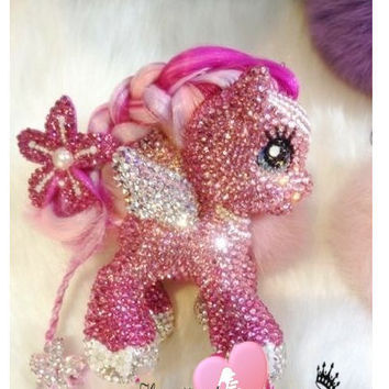 Bling Fading Pink pony  charm hand Strass/ Swarovski crystal element