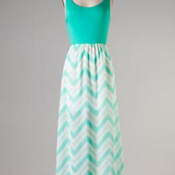 Boardwalk Rendezvous Sleeveless Solid and Chevron Print Block Maxi Dress in Sea Foam | Sincerely Sweet Boutique
