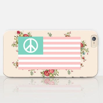 Floral American Flag Phone Case For-iPhone 6 Case-iPhone 5 Case-iPhone 4 Case-Samsung S4 Case-iPhone 5C - Tough Case - Matte Case - Samsung