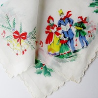Vintage Handkerchief Christmas Printed Fine White Linen Carolers Bells Green Holly Red Berries Scallop Edge Semi-Sheer Shadow Work Border