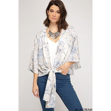 Printed Tie Front Cardigan - Blue/Cream  One Size