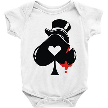 poker hat ace of spades Baby Onesuit