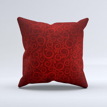 Dark Red Spiral Pattern V23 ink-Fuzed Decorative Throw Pillow