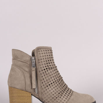 Qupid Perforated Suede Chunky Heeled Cowgirl Booties