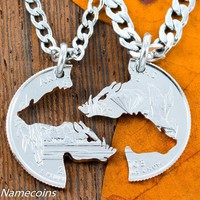 Razorback hog Necklaces, country couple, for boar hunters or hog theme, cut coin