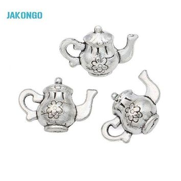 CREYIJ6 20pcs Hot Sale Antique Silver Tone Teapot Charms Pendants for Jewelry Making DIY Handmade Craft 17x12mm