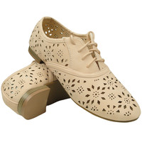 Womens Ballet Flats Tribal Eyelet Cutout Shoe Laces Nude