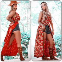 Retro Grunge red dress Kimono, Red Dress, Music Festival Clothing